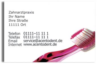 Praxisvisitenkarten, Motiv Zahnbürste