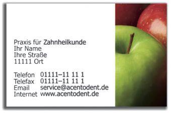 Praxisvisitenkarten, Motiv Äpfel
