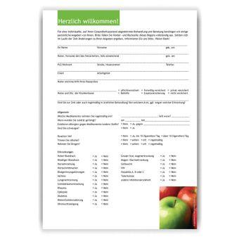 Anamnesebogen, Motiv Äpfel