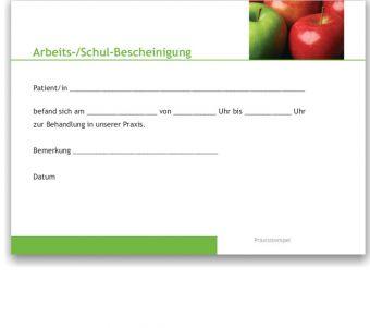 Atteste für Schule und Arbeitgeber, Motiv Äpfel
