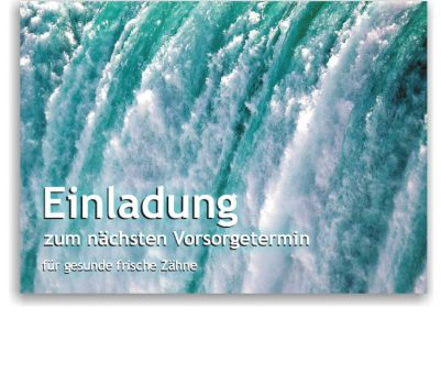 Recallkarten, Motiv Wasser, zentrierter Text