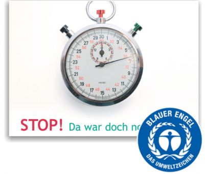 """Recallkarten """"Stop!"""", Umweltsiegel"""