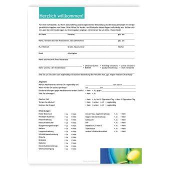 Anamnesebogen, Motiv Zahngesundheit