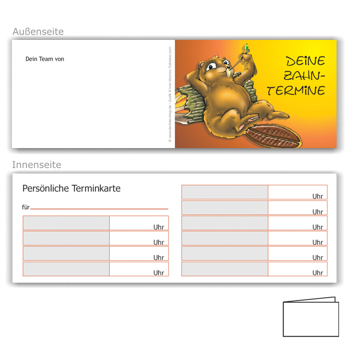 Terminkarte für Kinder, Motiv Biber
