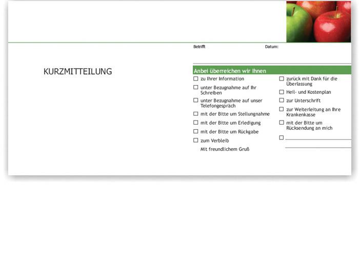 Kurzbrief, Motiv Äpfel