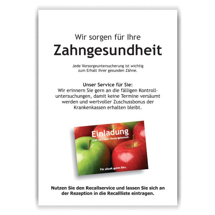 A4-Poster Recallservice im Acrylständer, Motiv Äpfel