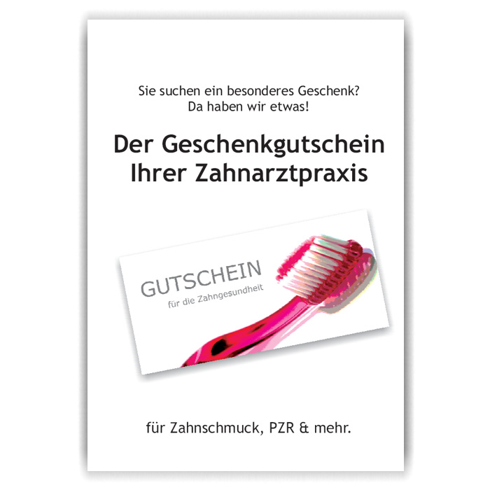 A3-Poster Geschenkgutscheine, Motiv Zahnbürste