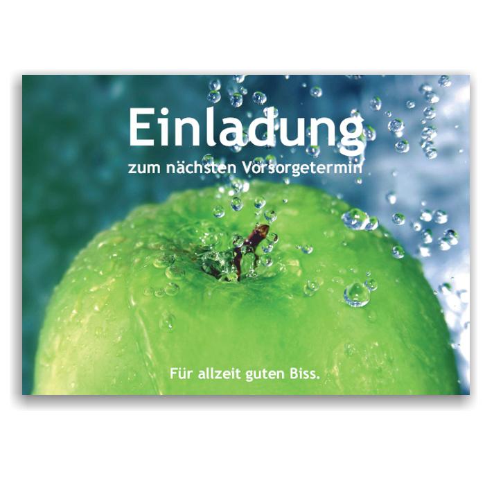 """Recallkarten mit Metalliceffekt, Textbaustein """"Vorsorge"""", Motiv Frische"""