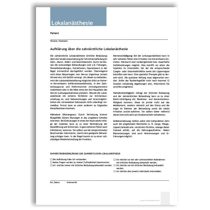 Aufklärung Lokalanästhesie