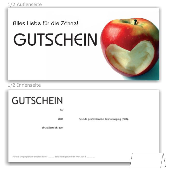 acento-Dentalshop | PZR-Gutscheine, Motiv Herzapfel | Recallkarten
