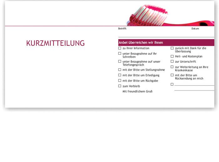Acento Dentalshop Kurzbrief Motiv Zahnbürste Recallkarten